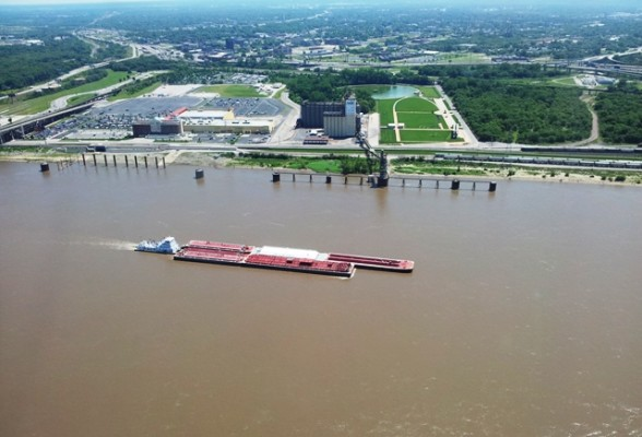 A view of East St Louis, Illinois. from across the Mississippi
